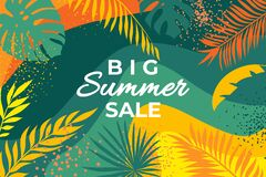 Free Summer Banner With Tropical Leaves. Abstract Summer Poster With Palm Branches And Hand Drawn Circles. Jungle Plants Royalty Free Stock Photos - 220710668