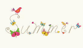 Summer banner word with bird and butteflies Royalty Free Stock Image