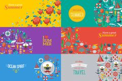 Summer Banners with marine symbols. Stock Images