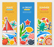 Summer Banners with marine symbols Royalty Free Stock Images
