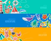 Summer Banners with marine symbols. Vector Royalty Free Stock Images