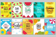 Summer banners. Tropical colored vacation pictures flyer cards with watermelon and flamingos, swimming circle and royalty free stock images