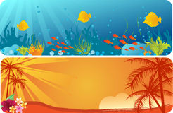Summer banners with underwater background Royalty Free Stock Photos