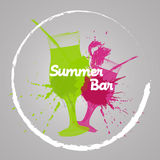 Summer bar text pink and green Royalty Free Stock Image