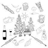 Summer barbecue backyard party doodle set Royalty Free Stock Photos