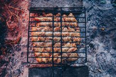 Summer barbecue with chicken. Dinner. Stock Photo