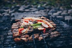 Summer barbecue with chicken. Dinner. Summer barbecue with chicken and pizza. Dinner or lunch Stock Photos