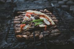 Summer barbecue with chicken. Dinner. Summer barbecue with chicken and pizza. Dinner or lunch Stock Image