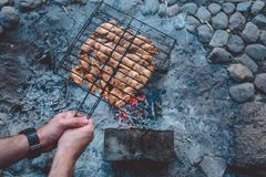 Summer barbecue with chicken. Dinner. Stock Photos