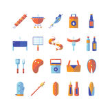 Summer barbecue colorful flat icon set. Stock Photos
