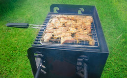 Summer barbecue. Fresh meat preparing on grill in summer day Royalty Free Stock Photography