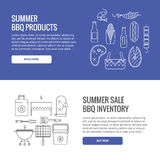 Summer barbecue and grill concept. Web banners. Made in line style. Vector isolated illustration Royalty Free Stock Photos