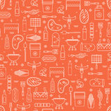 Summer barbecue and grill lseamless pattern. Summer barbecue and grill lined icon seamless pattern Stock Images