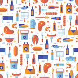 Summer barbecue and grill seamless pattern. Made in flat style Royalty Free Stock Image