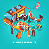 Summer Barbecue Isometric Illustration Royalty Free Stock Photography