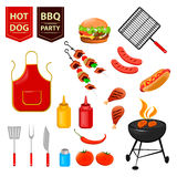 Summer barbecue party. Set of flat icons with grilled chicken drumsticks, hot dog, meat and sauces. Vector illustration Royalty Free Stock Photos