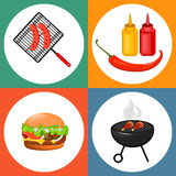 Summer barbecue party. Set of flat icons with grilled sausages, cheeseburger and sauces. Vector illustration Stock Images