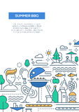 Summer barbecue and picnic line design poster. Vector flat line design summer barbecue and picnic poster, banner with bbq infographics elements Stock Photography