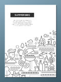 Summer barbecue and picnic line design poster. Vector flat simple line design summer barbecue and picnic poster, banner with bbq infographics elements Royalty Free Stock Photography