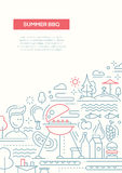 Summer barbecue and picnic line design poster. Vector flat simple line design summer barbecue and picnic poster, banner with bbq infographics elements Stock Photography