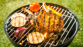 Summer barbecue with pork cutlets Stock Photography
