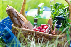 Summer basket for picnic  with wine, bread, fruits and snacks Royalty Free Stock Photography