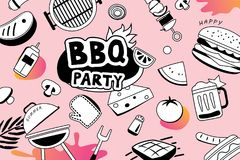 Summer BBQ doodles symbol and objects icon for party background. Royalty Free Stock Image