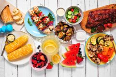Free Summer BBQ Or Picnic Food Top Down View Table Scene On A White Wood Background Royalty Free Stock Photography - 215283157