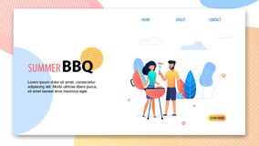 Summer BBQ Party. Cartoon Man Woman near Grill. Summer BBQ. Cartoon Man Woman near Grill Vector Illustration. Backyard Barbecue Party. Happy People Fry Sausage stock illustration