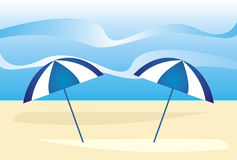 Summer beach. Illustration of sea and the beach Royalty Free Illustration