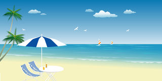 Summer on beach. Illustration of coco tree, sunshade, chairs and drinks on tropical beach.  It can be used for background or backdrop etc Stock Images
