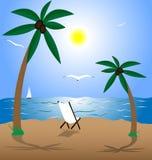 Summer beach. Summer landscape: beach, sea, sun, palms and seagulls Royalty Free Stock Photo