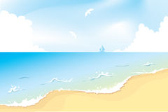 Summer beach. Vector illustrated lanscape with summer beach Stock Photo