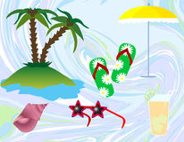 Summer beach. Abstract background with summer beach items stock illustration