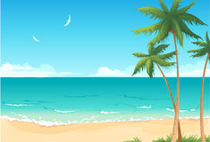 Summer beach. Vector background with summer beach stock illustration