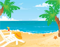 Summer beach. With palms, vector illustration Royalty Free Stock Photos