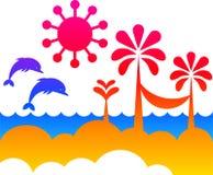 Summer on a beach - abstract vector Royalty Free Stock Photos