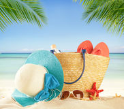 Summer beach accessories on sand Royalty Free Stock Photos