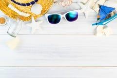 Summer Beach accessories White sunglasses,starfish,straw hat,gl Stock Images