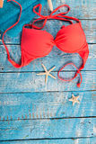 Summer beach accessory on the wood table. Royalty Free Stock Photography