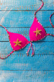 Summer beach accessory on the wood table. Royalty Free Stock Images