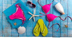 Summer beach accessory on the wood table. Stock Images
