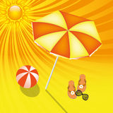 Summer beach background. Summer sun orange beach background Royalty Free Stock Image