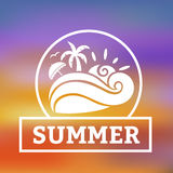 Summer beach background with beach symbol illustration. Summer beach background with colors of the sunset in circle. Vector illustration of palm tree, sea wave Stock Image