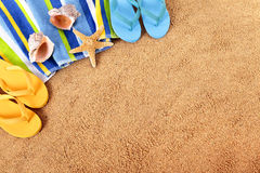 Summer beach background border flip flops sand copy space Royalty Free Stock Photography
