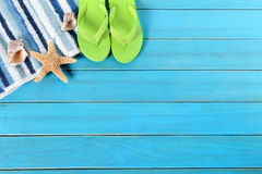 Summer beach background border, flip flops, copy space stock photography