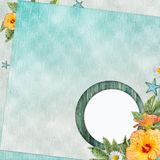 Summer  beach background  with circle frame Royalty Free Stock Images