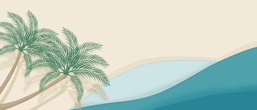 Summer  Beach background with curve waves and palm trees stock illustration