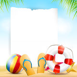 Summer beach background with empty paper Stock Photography