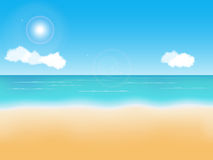 Summer beach background. Summer empty beach vector background. Seaside view Stock Image